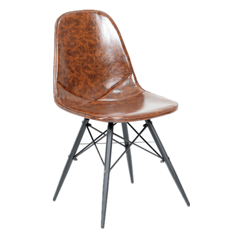 Modern Design Leather Dining Chair With Metal Legs