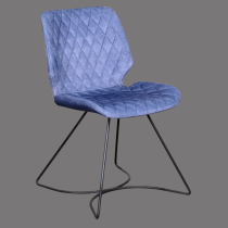 Blue fabric seat dining chair metal base