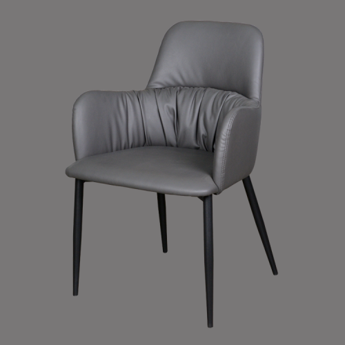 High back gray leather dining side chair made in china