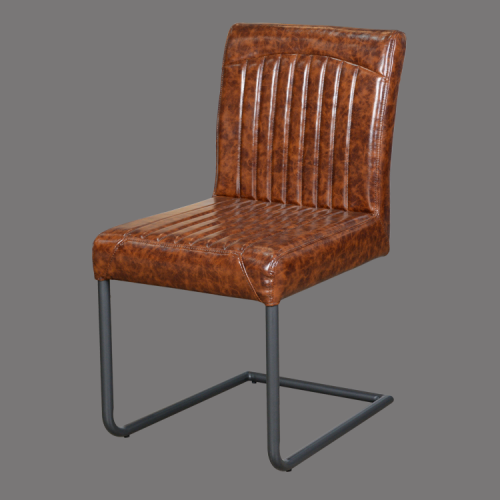 high back bow shape base leather dining chair