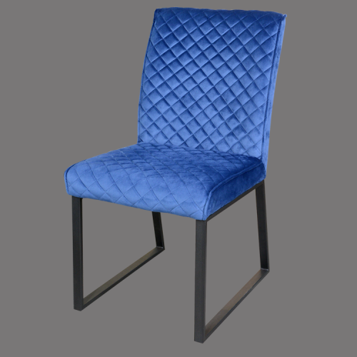 high back blue fabric dining chair