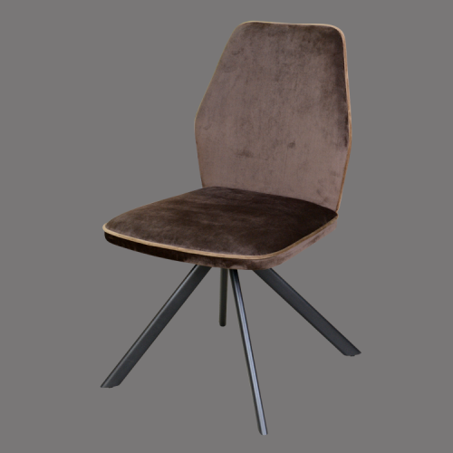 Armless coffee color fabric dining chair