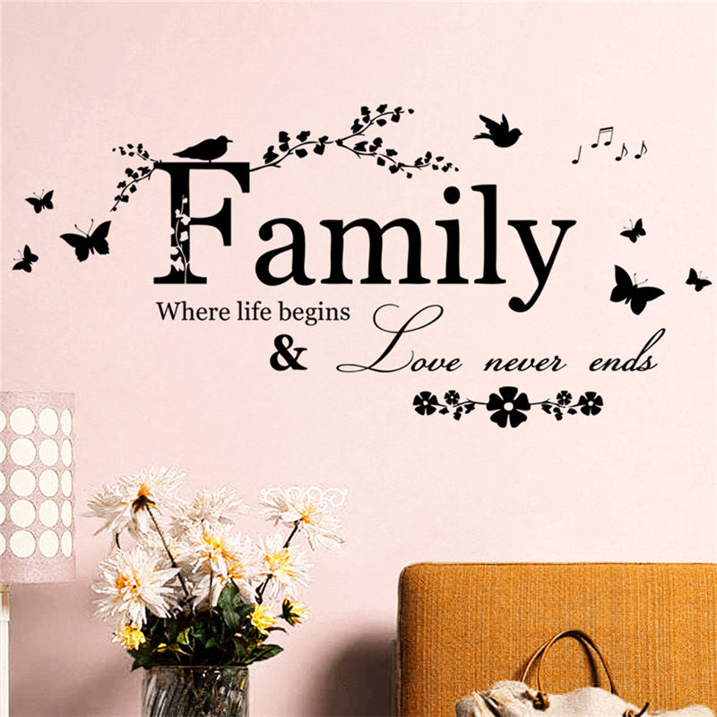 Family Letter Quote Removable Vinyl Decal Art Mural Diy Home Decor Wall Stickers Item No E9294