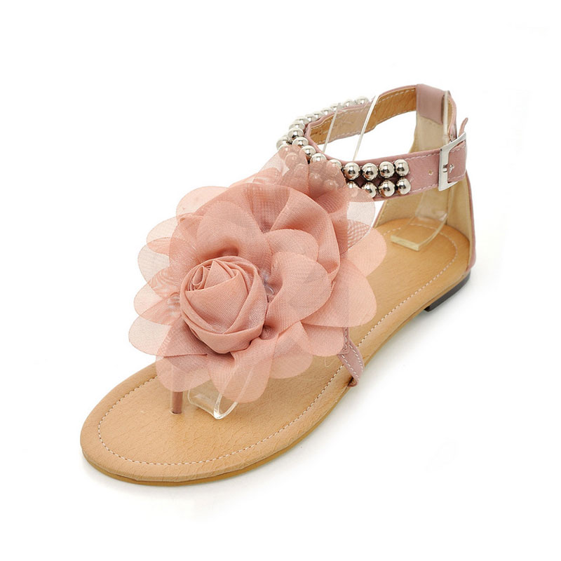 Doratasia womens summer shoes flat flower sandals pink color womens flower shoes sandals item no 227984 mightylinksfo