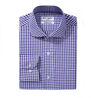 Mens Modern Fit Cotton Formal Dress Shirts Blue/Navy