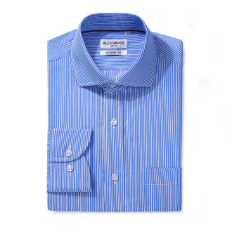 Mens Modern Fit Cotton Formal Dress Shirts Blue Stripe