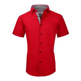 Mens Dress Shirts Cotton Spandex Regullar Fit Short Sleeve Shirt Red