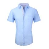 Mens Dress Shirts Cotton Spandex Regullar Fit Short Sleeve Shirt Blue