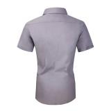 Mens Dress Shirts Cotton Spandex Regullar Fit Short Sleeve Shirt Gray