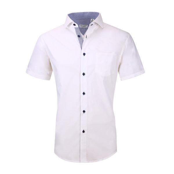 Mens Dress Shirts Cotton Spandex Regullar Fit Short Sleeve Shirt White
