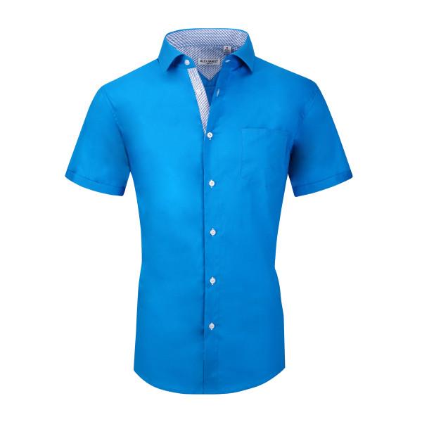 Mens Dress Shirts Cotton Spandex Regullar Fit Short Sleeve Shirt Turquoise