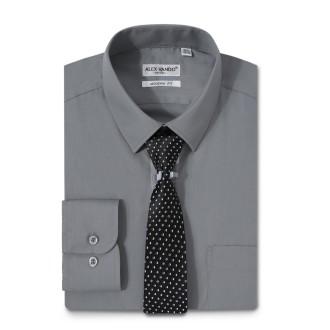 Mens Dress Shirts Solid Color Long Sleeve Solid Dark Gray