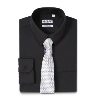 Mens Dress Shirts Solid Color Long Sleeve Solid Black