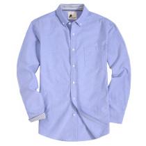 Mens Button Down Regular fit Washed Oxford Dress Shirt Blue