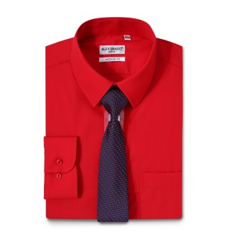 Mens Dress Shirts Solid Color Long Sleeve Solid Red