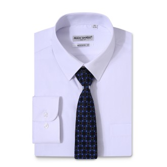 Mens Dress Shirts Solid Color Long Sleeve Solid White
