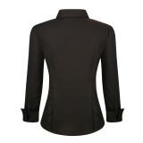 Womens Button Down Shirts Long Sleeve Cotton Stretch Work Shirt Black
