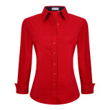 Womens Button Down Shirts Long Sleeve Cotton Stretch Work Shirt Red
