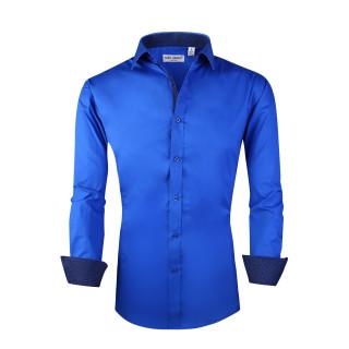 Mens Dress Shirts Cotton Spandex Casual Regular Fit Long Sleeve Shirt Royal Blue
