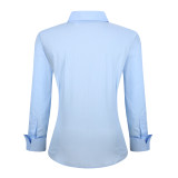 Womens Button Down Shirts Long Sleeve Cotton Stretch Work Shirt Blue
