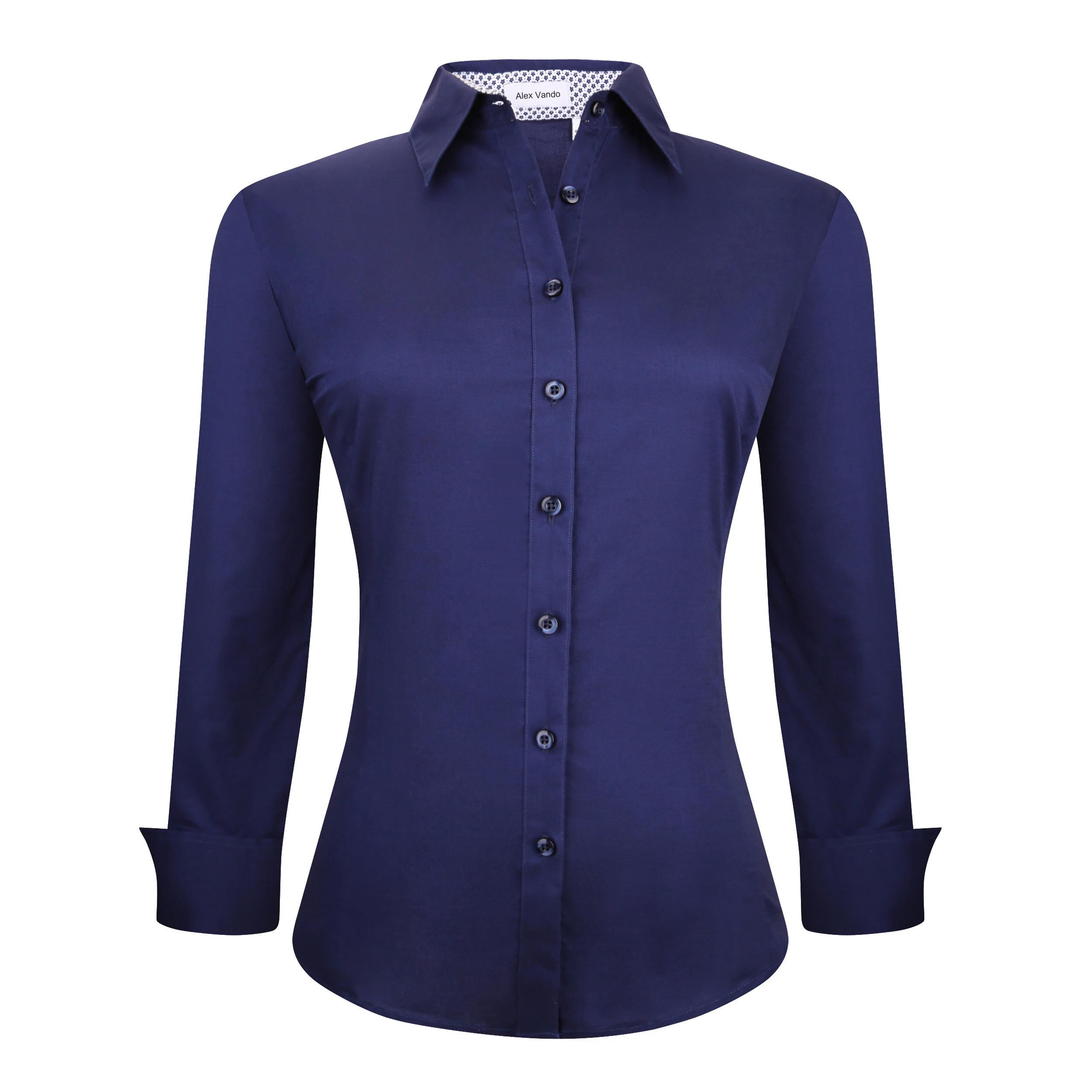 Womens Dress Shirts Cotton Casual Regular Fit Long Sleeve Collar ...