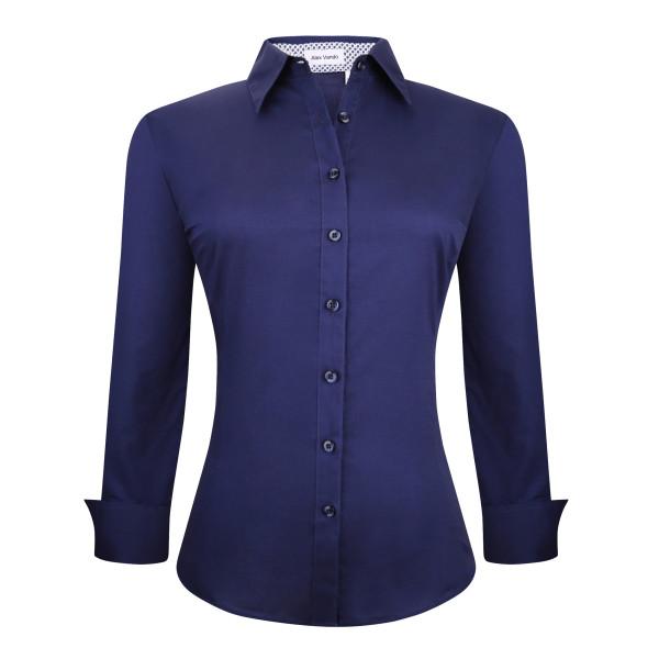Womens Button Down Shirts Long Sleeve Cotton Stretch Work Shirt Navy