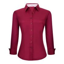Womens Button Down Shirts Long Sleeve Cotton Stretch Work Shirt Burgundy