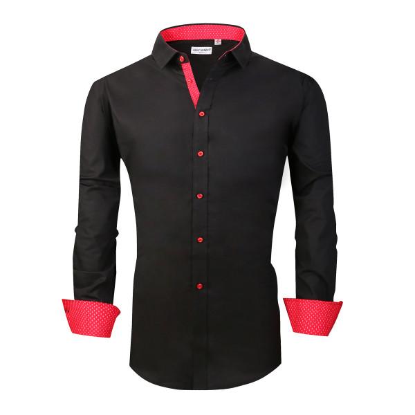 Alex Vando Mens Big & Tall Dress Shirts Regular Fit Long Sleeve Men Shirt Black