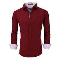 Alex Vando Mens Dress Shirts Wrinkle Free Regular Fit Long Sleeve Men Shirt Burgundy