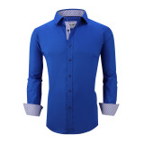 Mens Dress Shirts Cotton Spandex Casual Regular Fit Long Sleeve Shirt L19-Royal