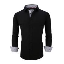Mens Dress Shirts Cotton Spandex Casual Regular Fit Long Sleeve Shirt L19-Black