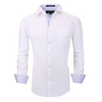 Alex Vando Mens Dress Shirts Wrinkle Free Regular Fit Long Sleeve Men Shirt White