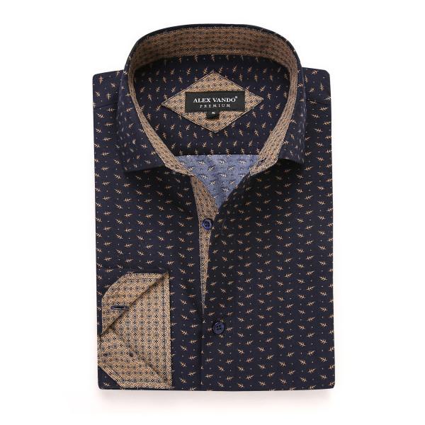 Mens Printed Casual Long Sleeve Dress Shirt print-01-A402