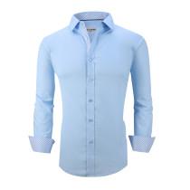 Mens Dress Shirts Cotton Spandex Casual Regular Fit Long Sleeve Shirt L19-Blue