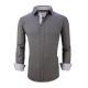 Mens Dress Shirts Cotton Spandex Casual Regular Fit Long Sleeve Shirt L19-Charcoal