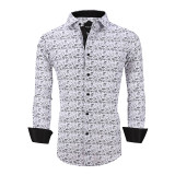Mens Printed Casual Long Sleeve Dress Shirt print-01-A984