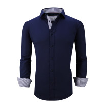 Mens Dress Shirts Cotton Spandex Casual Regular Fit Long Sleeve Shirt L19-Navy