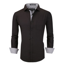 Alex Vando Mens Dress Shirts Wrinkle Free Regular Fit Long Sleeve Men Shirt Black