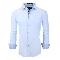 Alex Vando Mens Dress Shirts Wrinkle Free Regular Fit Long Sleeve Men Shirt Blue