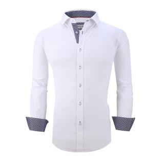 Mens Dress Shirts Cotton Spandex Casual Regular Fit Long Sleeve Shirt L19-White