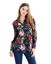 Womens Button Down Shirts Long Sleeve Print Work Shirt