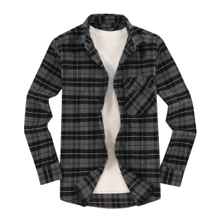 Mens Casual Button Down Slim Fit Flannel Shirts Charcoal2088