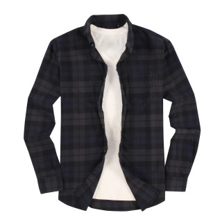 Mens Casual Button Down Slim Fit Flannel Shirts Black/royal/grey