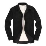 Mens Casual Button Down Slim Fit Flannel Shirts Corduroy Black
