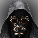 Steampunk MASK GOGGLES - 2 pc set Distressed Respirator Gas Mask Spikes and Matching Flip Up Goggles Mask Costume Burning Man Vintage Festival EDM Rave Outfits