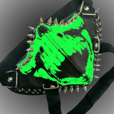 Burning Man Leather Neon Skull Mask Studded Face Bandana Festival Playa EDC Rave Outfits Coachella