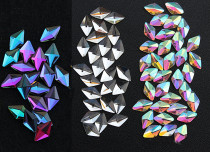 100 Pieces Holographic Iridescent Nail Art Gems AB Color Marquise Rhinestone Flat Bottom Rave Gear