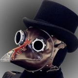 Steampunk Plague Doctor Mask Costume Burning Man Gothic Punk Leather Mask Studded Face Bandana Vintage Festival EDM Rave Outfits