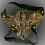 Burning Man Gothic Punk Leather Mask Studded Face Bandana Streampunk Vintage Festival EDM Rave Outfits