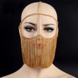 Burning Man Handmade Gold Metal Chain Mask Face Bandana Festival EDM Rave Outfits Coachella